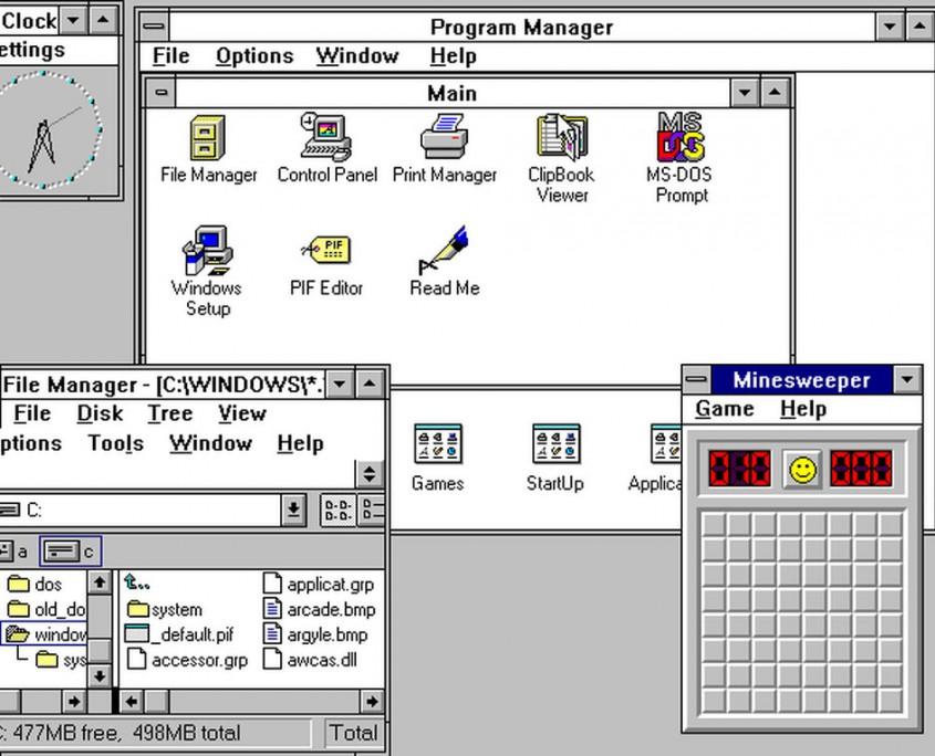 Windows 3.0 aporta el primer explorador de ficheros y el famoso Buscaminas